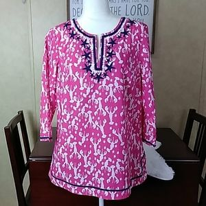 EUC Talbot's pink lobster seashell tunic M